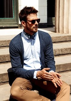 just ditch the neckerchief // #preppy #cardigan #oxford