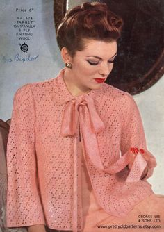 Beautiful 1940s Ladies Bed Jacket Cardigan 3 Sizes 32 34 36 Bust Lee Target 624 Vintage Knitting Pattern