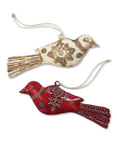 Look at this #zulilyfind! Metal Bird Ornament - Set of Two #zulilyfinds