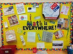 Cool Math is everywhere bulletin board…What a great bulletin board! (It's not on the site, but not needed with this picture).This could be an on-going bulletin board (back wall) that students bring in items to add to board (extra credit). Elementary Math, Kindergarten Math, Teaching Math, Preschool, Math Bulletin Boards, Math Boards, Math Resources, Math Activities, Math College