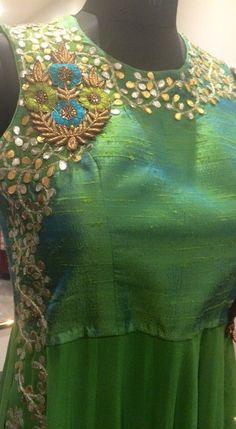 Green blouse/anarkali material with zardosi n gota work