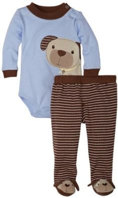 Mini Bean Baby-Boys Newborn Dog and Stripe Creeper Pant Set, Soft Brown, 3-6 Months Mini Bean. $20.00