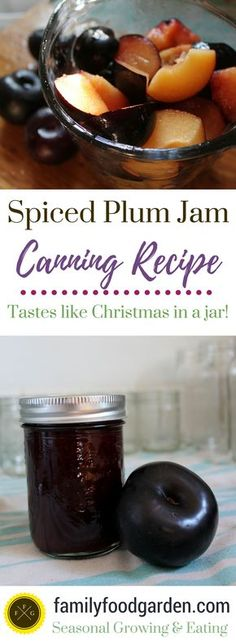 Spiced Plum Jam Canning Recipe - Family Food Garden This spiced plum jam tastes like Christmas in a jar! Canning plum jam is a great way to preserve plums. You can turn this recipe into a plum sauce too Chutneys, The Jam, Plum Jam Recipes, Christmas Jam, Plum Sauce, Jam And Jelly, Canning Recipes, Drink Recipes, Canning Tips