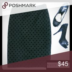 💞White House Black Market polka dot pencil skirt Sexy little dark gray pencil skirt with back slit. Fully lined. Sized as 00 but runs large, measurements to be posted later today. NO TRADES PLEASE! OFFERS WELCOME THROUGH OFFER FEATURE ONLY PLEASE! White House Black Market Skirts Pencil