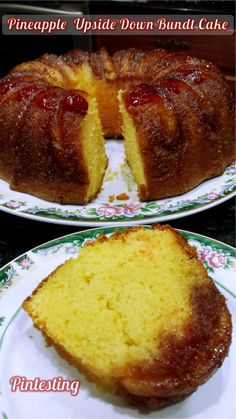 Pintesting Pineapple Upside Down Bundt Cake: a beautiful alternative way to make a favorite classic cake and get more fruit with every slice. Pineapple Upside Down Cake, Pineapple Cake, Just Desserts, Delicious Desserts, Yummy Food, Baking Recipes, Cake Recipes, Dessert Recipes, Nake Cake