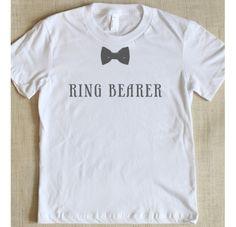 Ring Bearer- cute for rehersal dinner. Wonder if I could do the freezer paper stencil thing? Ring Bearer Shirt, Ring Bearer Gifts, Suspenders, Wedding Tops, Wedding Shirts, Wedding Stuff, Wedding Rehearsal, Rehearsal Dinners
