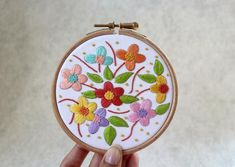 Floral Embroidery Kit- Hand Embroidery Kit- Embroidery Kit- Beginner e… Diy Embroidery Kit, Hand Embroidery Videos, Embroidery For Beginners, Floral Embroidery, Embroidery Patterns, Art Mural Floral, Diy Purse, Etsy, Needle Felting
