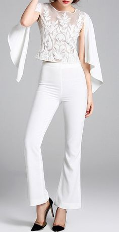 White Slit Sleeves Top with Flared Pants