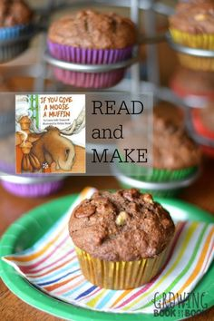 Make these yummy Hot Chocolate Banana Muffins to compliment the book If You Give a Moose a Muffin.  Fun literacy activities in the kitchen including a free printable!