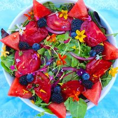 ☀️Summer Salad! Watermelon, heirloom tomatoes, blueberries, blackberries, and edible flowers with lemon and orange juice