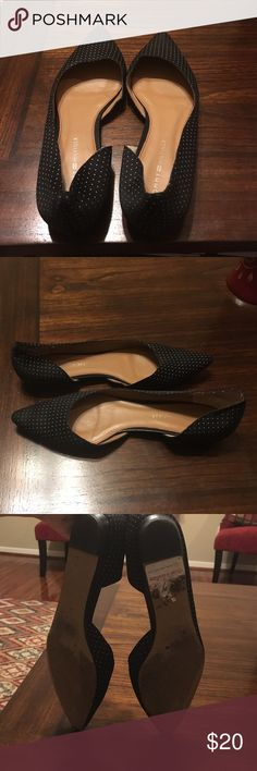 Gently Worn Tommy Hilfiger Flats -Navy/Black/White Worn for only about a month period, these dark navy/black and white polka-dotted flats are great for work or with jeans! Tommy Hilfiger Shoes Flats & Loafers