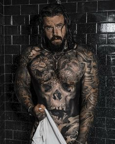 Reposted from Still don't know what day it is. So might be too early this time. Grow A Thicker Beard, Sexy Tattooed Men, Hot Guys Tattoos, Mens Hairstyles With Beard, Full Body Tattoo, Beard Model, Beard Grooming, Awesome Beards, Beard Balm