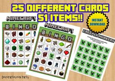 MINECRAFT BINGO (print your own) - Minecraft party game-  Instant Download - Digital files