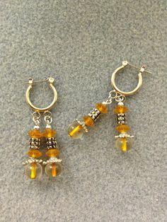 Orange Beaded Earrings by BeadingBeeCreations on Etsy, $15.00