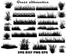 Grass Silhouettes by Twelvepapers Rock Clipart, Grass Clipart, Grass Vector, Grass Silhouette, Silhouette Design, Cartoon Grass, Cool Umbrellas, Grass Background, Tree Svg
