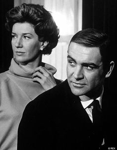 "Lois Maxwell as 'Miss Moneypenny' and Sean Connery as 'James Bind' in ""Thunderball"", (1965)"