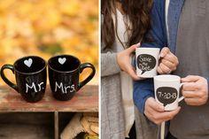 Save the Date on coffee mugs
