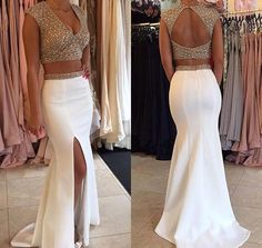 Two Pieces Beading Sexy Prom Dress,Long Prom Dresses,Cheap Prom Dresses,Evening Dress Prom Gowns, Formal Women Dress,prom dress,F63