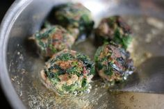 Spinach meatballs. Going to do these in teriyaki =)