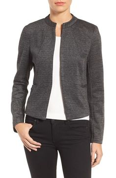 Free shipping and returns on Halogen® Mandarin Collar Jacket (Regular & Petite) at Nordstrom.com. A fitted Mandarin-collar jacket is a bit more relaxed in a mélange slub-knit fabric with open-front styling.