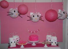 DIY Hello Kitty Party Decor: DIY Hello Kitty Lanterns and gift bags...