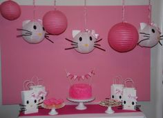 DIY Hello Kitty Party Decor: DIY Hello Kitty Lanterns and gift bags... For the future if I have a little girl that likes Hello Kitty. I think these are really cute.