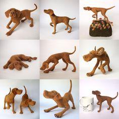 Needle felted Vizslas, dog sculptures.