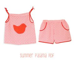Toddlers pyjama pattern pdf - girls summer pajama shorts and top tutorial - 6mths to 6 years