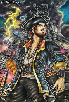 OVER THE SEAS | pirate, art, pirates, ship, jolly roger, fantasy, storm, sea, marine, captain, wooden arm, drawing, traditional, colored pencils