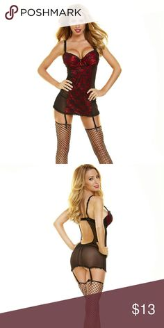 Hustler Lingeries Lace Chemise Panty Set. This red hot lace chemise set features a luxurious look that radiates sex appeal.  The supportive bra top lift the bust to enchance your figure. This set leave plenty to imagination. Size Medium/Large (6-10). Hustler Lingeries  Intimates & Sleepwear Chemises & Slips