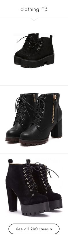 """clothing #3"" by sleeping-with-loki ❤ liked on Polyvore featuring shoes, boots, ankle booties, black boots, black lace up booties, black platform boots, black laced booties, black platform booties, heels and sapatos"