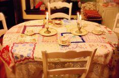 a romantic vintage handkerchief table coverlet
