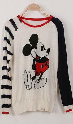 Mickey print stitching long-sleeved knit thin sweater - look, Jennifer T!!! S26.49 w free shipping.