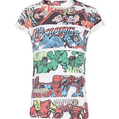 RIVER ISLAND x MARVEL COMICS  AW14  Boys white Marvel stripe print t-shirt �12.00