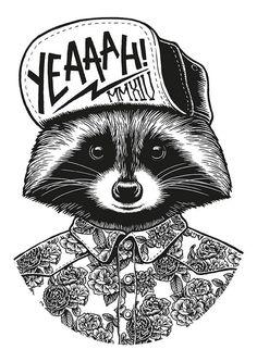Illustration - illustration - Raccoon by Yeaaah! Studio, via Behance illustration : – Picture : – Description Raccoon by Yeaaah! Studio, via Behance -Read More – Art Pop, Plotter Silhouette Portrait, Graffiti, Tatoo Art, Oeuvre D'art, Vector Art, Design Art, Illustration Art, Raccoon Illustration