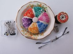 Hand Embroidered Pin Cusion by LaughRabbitDesigns on Etsy, $34.00