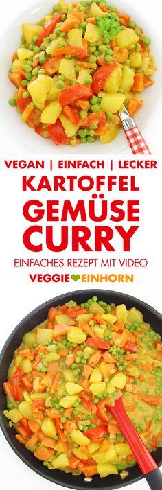 Veganes KARTOFFEL-GEMÜSE-CURRY   Einfaches veganes Rezept   Leckeres Curry mit Paprika, Möhren und Erbsen   Rezept mit VIDEO #VeggieEinhorn