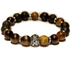 Bracelet homme pierre de lave et oeil de tigre : Bracelet par miss-chic
