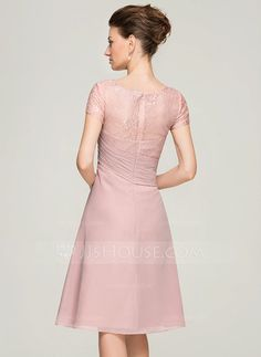 A-Line/Princess Scoop Neck Knee-Length Chiffon Lace Mother of the Bride Dress With Beading Flower(s) (008062576)