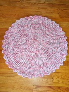 Pink and White Peppermint Circle Rag Rug with by HandmadeMichelle, $30.00