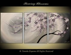 """Original Modern Impasto Painting on Gallery wrapped Canvas 54"""" x24"""" Home Decor, Wall Art --- Flowing Blossoms---- by Tomoko---"""