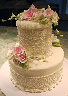 Traditional White Wedding Cake by Ally Cake Designs, via Flickr