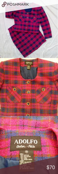 ADOLFO VINTAGE MAGENTA PLAID SUIT Powerhouse suit!!! Gorgeous magenta plaid suit perfect for a take charge kinda gal. Skirt has hidden zipper one button closure back kick pleat. Blazer and skirt are fully lined.  Perfect for fall winter wear. Jackets & Coats Blazers