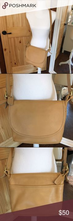 Coach Vintage Crossbody Bag Medium sized tan vintage Coach crossbody bag. Adjustable strap, brass hardware and Coach hang tag. Some signs of ware on the bottom but does not affect the look of the bag. Great condition for vintage!! Coach Bags Crossbody Bags