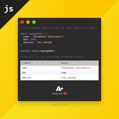 Ever had difficulties to navigate through complex object in JavaScript during debug?table might be just what you're looking for 🧽 Mobile Application Development, App Development, Computer Technology, Computer Science, Java Script, Learn Computer Coding, Computer Programming Languages, Learn Html, Web Design