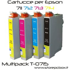 4 Cartucce Comp. per Epson T0711 T0712 T0713 T0714 Combo T0715 Multipack