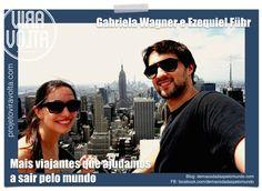 Gabriela e Ezequiel https://www.facebook.com/projetoviravolta?ref=hl  Ele - 32 anos, de Gramado (RS) - trabalhava com administração e fundos de investimento. Ela - 27 anos, de Santana do Livramento (RS) - trabalhava em multinacional com marketing estratégico. Eles acabaram de se casar em março e partiram para uma incrível lua de mel de 18 meses no dia 30 de março, que vai cruzar os 5 continentes.