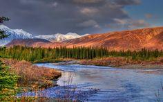 Nightfall on the Jack River, Cantwell, Alaska.