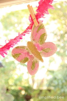 glitter butterfly garland - kids craft