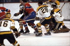Boston Bruins vs. Montreal Canadiens, c. 1965-67 Claude Provost of Montreal, Murray Oliver #16, Ron Murphy #28, Bernie Parent in goal and Joe Watson #14 all of Boston